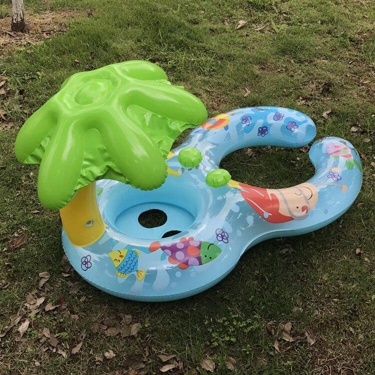 Детские надувные с зонтиком для мамы ребенка Для ванной открытый для кокосовой пальмы Плавание кольцо бассейн игрушка лето плавающей лодка...