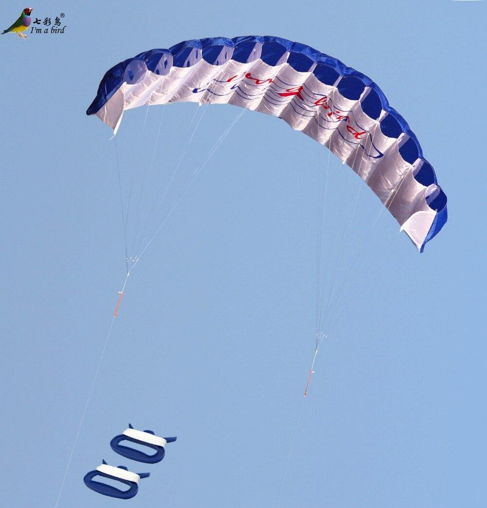 Free-Shipping-Outdoor-Fun-Sports-Power-Dual-Line-Stunt-Parafoil-Parachute-Rainbow-Sports-Beach-Kite-For-Beginner-2