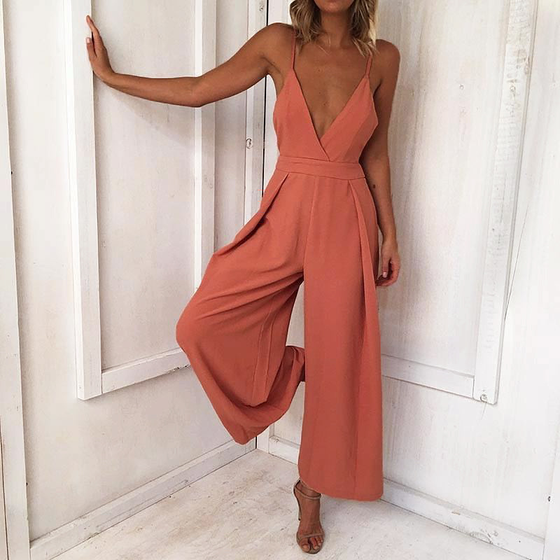 Lady Backless Long Jumpsuits Women Solid Back Bow Flare Leg Playsuit V-neck Sexy Beach Loose Jumpsuit