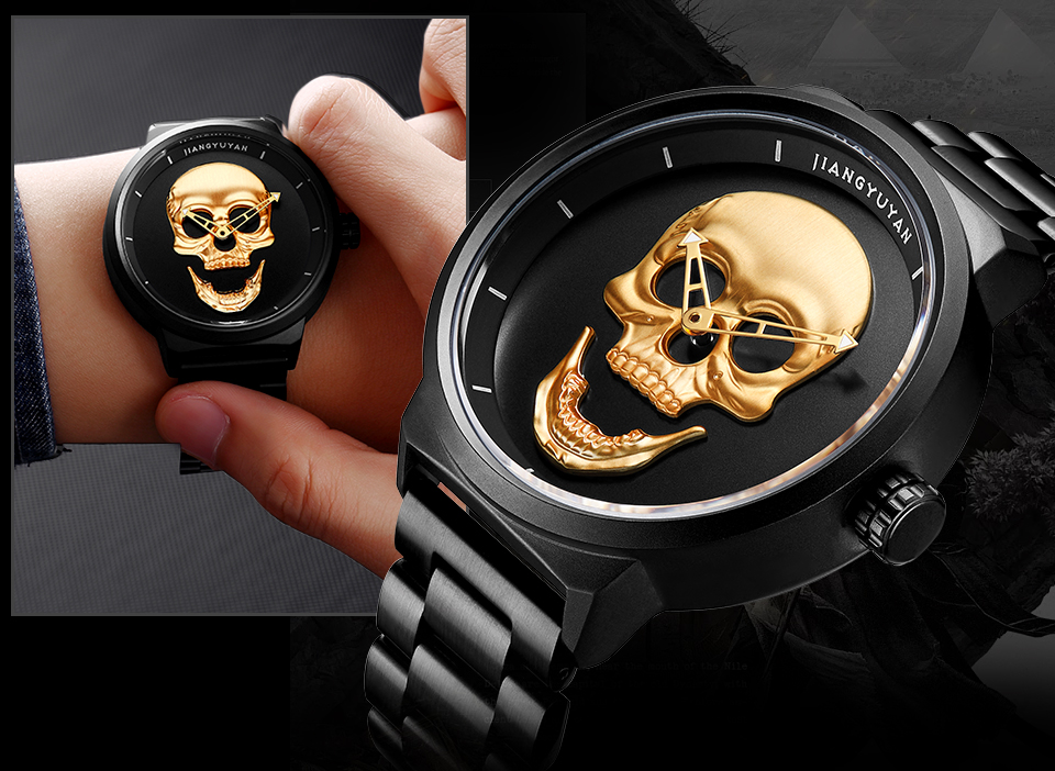 1739-960_08  2018 Scorching Pirate Punk 3D Cranium Males Watch Model Luxurious Metal Quartz Male Watches Retro Trend Gold Black Clock Relogio Masculino HTB1Tu8PdY3nBKNjSZFMq6yUSFXah