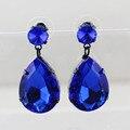 2016 Изысканный Оптовая Продажа Ювелирных изделий Серьги exquisites набор кристалл Серьги для женщин синий Корейский поп капли Бренд