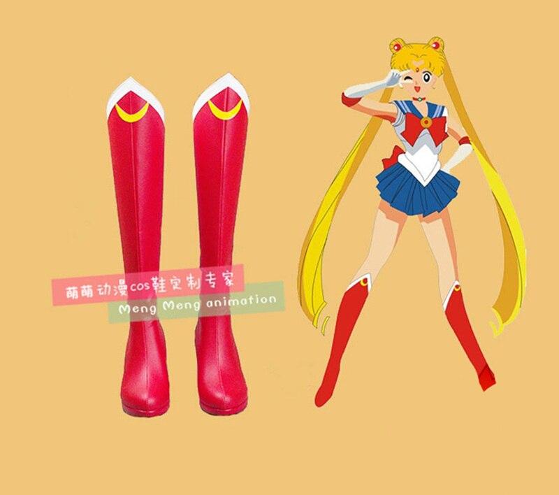 El Anime japonés Sailor Moon botas rojas de Sailor Moon Tsukino Usagi Cosplay zapatos de traje botas de gran tamaño