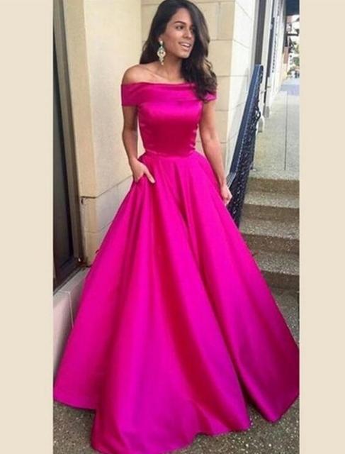Rosa rosa vestido de baile de graduación vestidos de fiesta vestidos ...