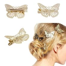 2015 Amaing Coming Golden Butterfly Hair Accessories Hair Clip Headpiece Hair Head Side Decor Wedding Jewelry Free Shipping(China)