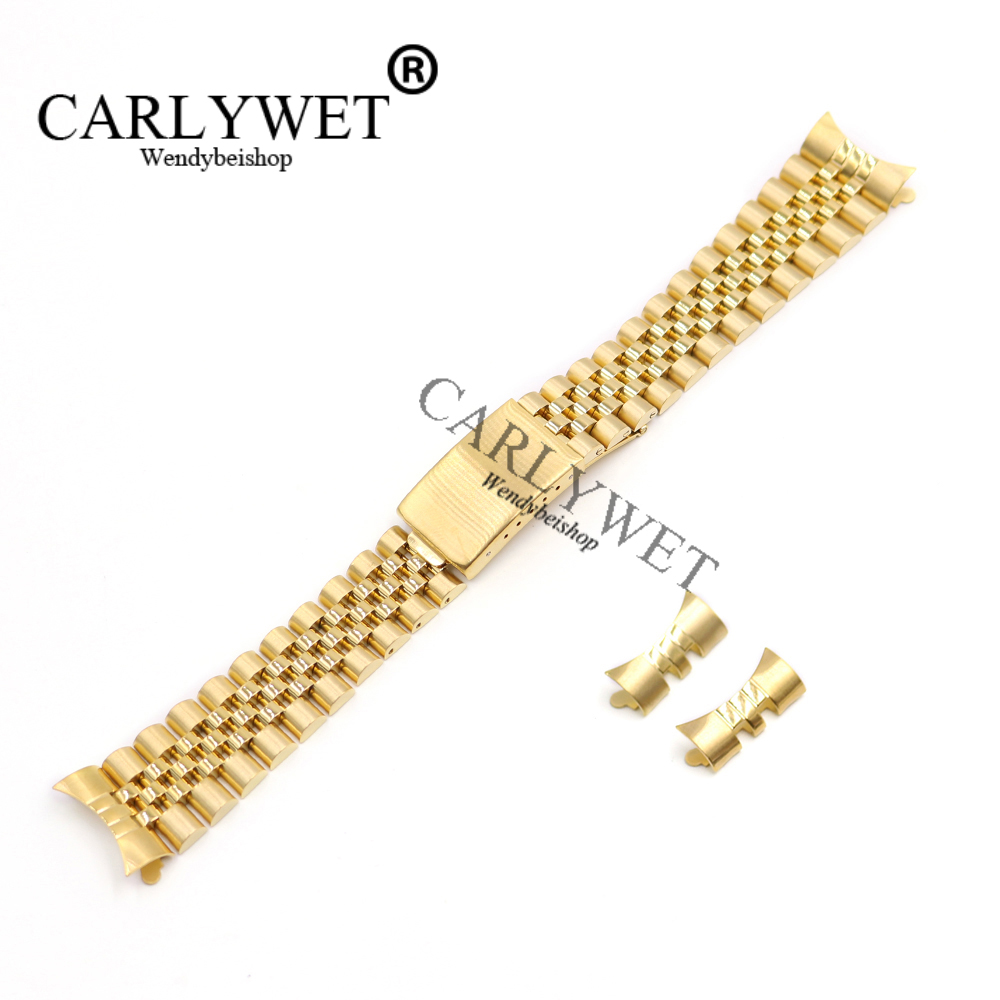 CARLYWET 13 17 19 20 22mm Hollow Curved End Solid Screw Links Gold 316L stainless Steel Replacement Watch Band Strap Bracelet