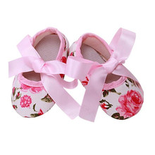 2017 New Fashion Baby Girls shoes Princess roses Prewalker Butterfly-knot Soft Sole Anti-Slip lace-up Toddler Shoes All Seasons
