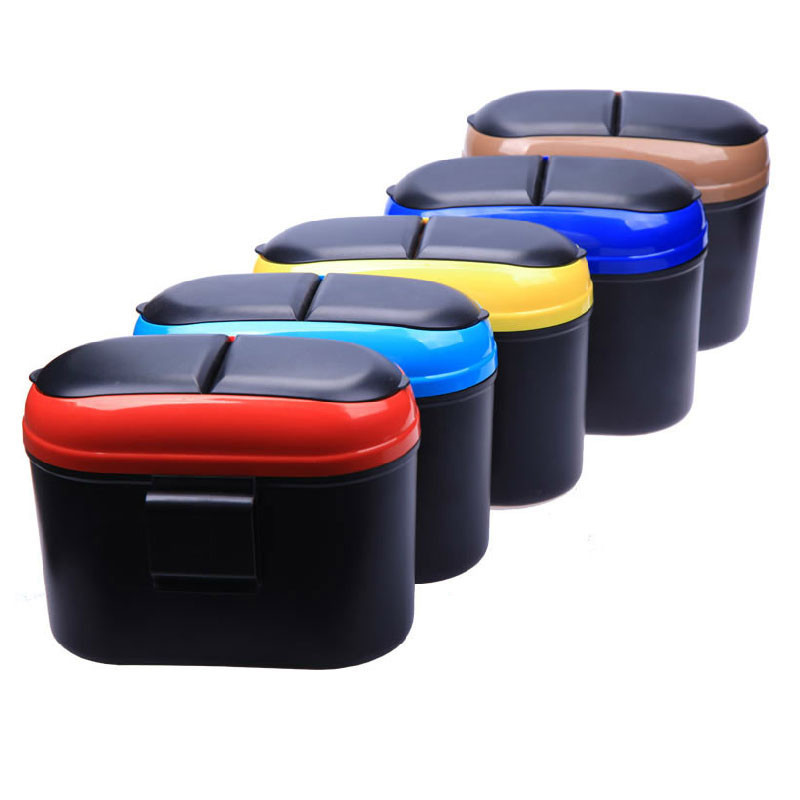 vechile car trash bin can storage box plastic for car door or seat back pocket small convenient rubbish case rolling cover type