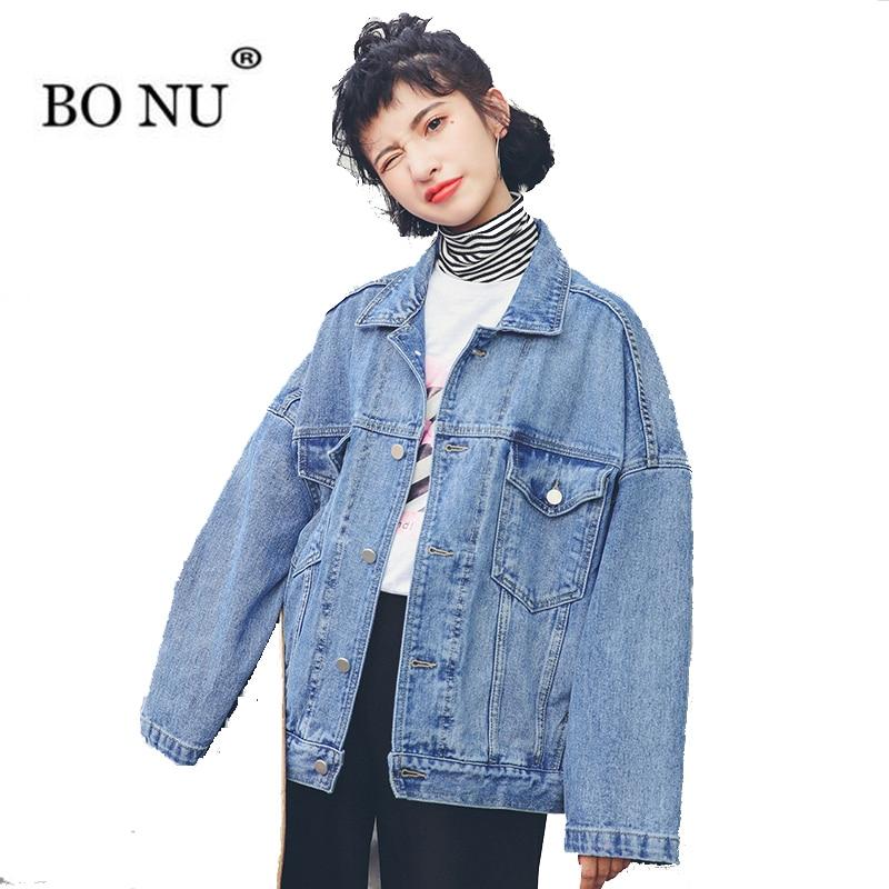 Automne Jeans De Manteau Demin Bf Harajuku Veste Pour Femme Bleu Femmes Bonu Lâche Vintage Femelle 13JlTFKc