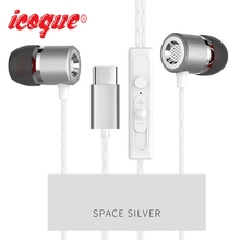 Icoque for Type-c Letv Leeco Earphones Stereo Headphones Bass Headset with Mic for LeEco Le 2 Max Pro USB Type C In-ear Earphone