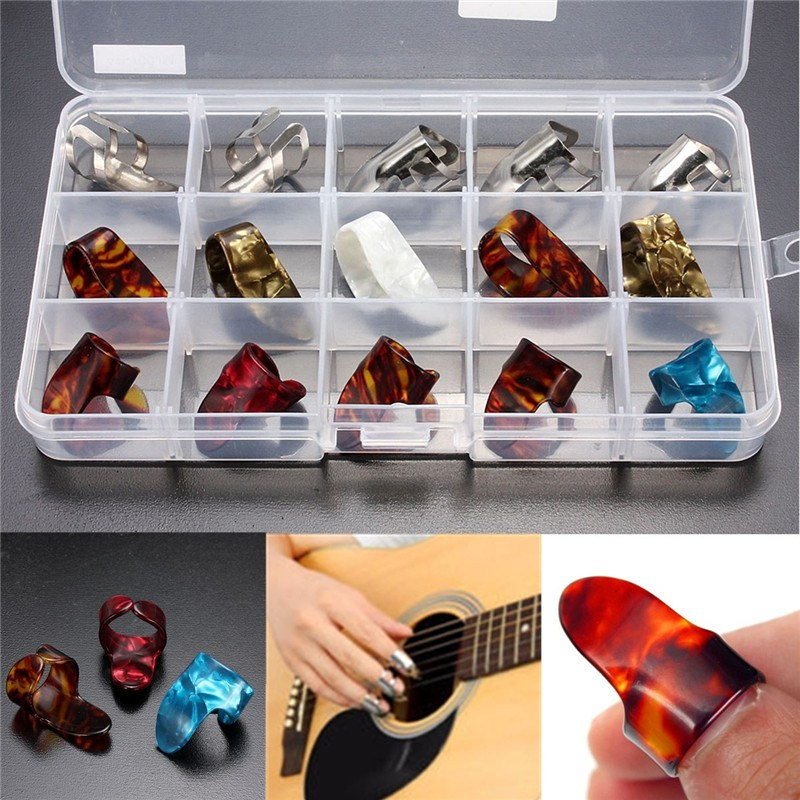 15pcs/Set Celluloid Metal Finger Thumb Guitar Picks Plectrums with Case Cover for Acoustic Electric Bass Guitar Parts