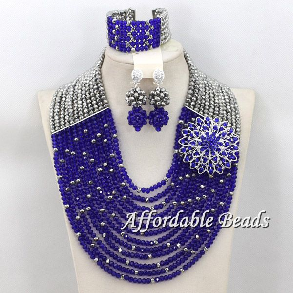 Luxury Symmetry Crystal Beads Weaving Solid Color African Beads Jewelry Sets Bridal Nigerian Wedding Party Jewelry Set  hx089Luxury Symmetry Crystal Beads Weaving Solid Color African Beads Jewelry Sets Bridal Nigerian Wedding Party Jewelry Set  hx089