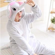 Adult Anime Kigurumi Onesies Cute Grey Blue Big Elephant Costume For Women Animal Onepieces Sleepwear Home Cloths Girl