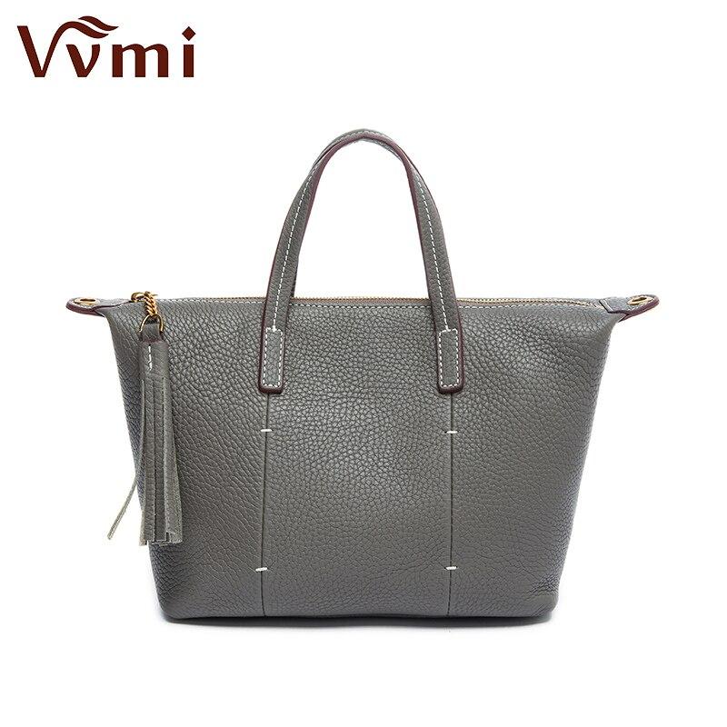 ФОТО Vvmi brand 2016 genuine leather women handbags soft top layer cow leather female simple totes tassel single shoulder bags new