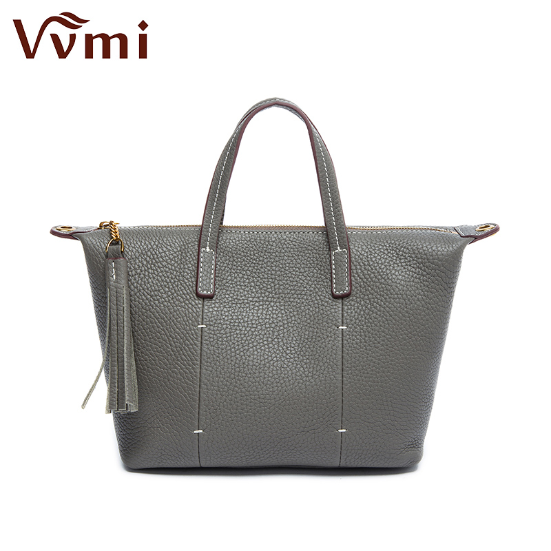 Vvmi genuine leather women handbags soft top layer cow leather female simple totes tassel single shoulder bags new 2017 spring and summer new women genuine leather handbags fashion litchi grain first layer of leather bags female shoulder bags