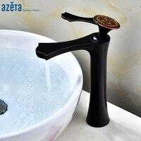 Azeta Bathroom Faucet Black Sink Tap Copper Material Single Handle Water Tap In The Bathroom Basin Faucet AT6306HAB