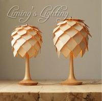 Denmark Antique modern Pinecone Oak Wooden Pineal Modern Creative DIY Handmade Wood Table Desk Night Lamp Lighting Light