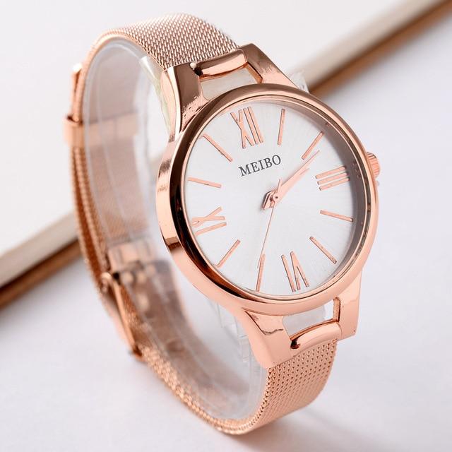 Fashion Women Watches Ladies Top Luxury Brand Rose Gold Bracelet Wrist Watch Rel