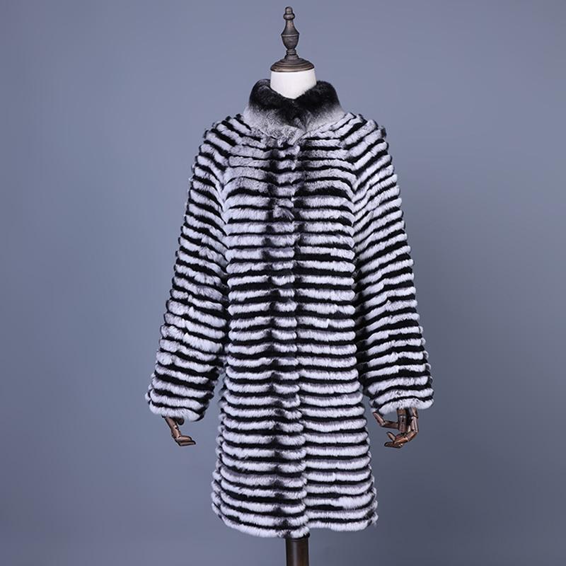 Real Rex Rabbit Fur Coat 2018 Winter Women Long Jackets Warm Winter Clothes Women Genuine Fur Slim Outerwear Long Coats Women