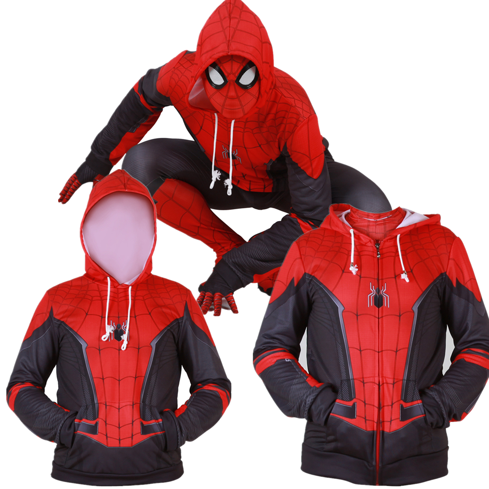 2019 Spiderman Far From Home Mysterio Hoodie Superhero Jacket Coat Costumes New
