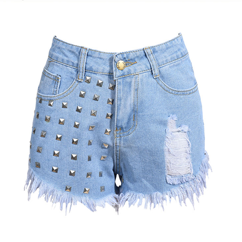 2017 Summer Fashion Rivets Tassel Women Denim Shorts High Waist Casual Hole Jeans Women Black White Light Blue S-2XL Hot Sale summer women fashion high waist jeans shorts worn hole straight denim shorts solid blue curling edge poket casual shorts