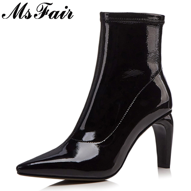 все цены на MsFair Pointed Toe High Heel Women Boots Genuine Leather Zipper Ankle Boots Women Shoes Elegant Sexy Black Red Boots Shoes Woman онлайн