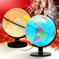 LED World Globe Lamp Full Inch 25cm Plastic PVC Earth Globe Map Educational School Teaching Geography Supplies