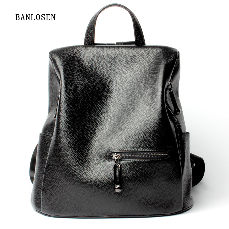 Genuine Leather Backpack Women Designer bags High Quality Shoulder Bags New School Bags For Teenagers Girls genuine leather backpack women designer bags high quality new rivet casual black school bags for teenagers grils sac a dos
