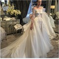Robe De Mariage Boat Neck Appliques Mermaid Wedding Dresses Detachable Train 2017 Vestidos De Novia Wedding Dress Long Sleeve
