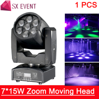 LED Moving Head Zoom Light 16 DMX Channel 7*15W RGBW 4IN1 Color Mixing DMX DJ Lighting Stage Light