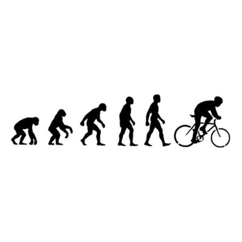 19.3*4.6CM Personality Human Evolution Cycling Car Stickers Waterproof reflective Vinyl Decals Black/Silver C7-0268