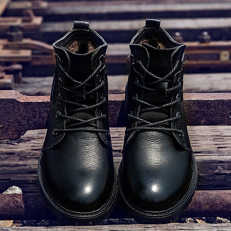 ФОТО Winter Men High Top cotton-padded Shoes Plush Soft Cow Leather Warm Mens Martin Boots Pointed Toe Square Heel Work Boots