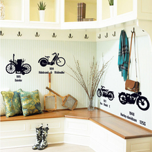 70X50cm Creative Black Bicycles Wall Sticker Removable PVC Transparent Funny Living Room Children's Room Background Wall Decals