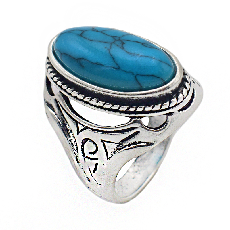 2018 New Personalized Jewelry Vintage Antique Silver Turquoises Ring for Men Tibet Women Finger Ring