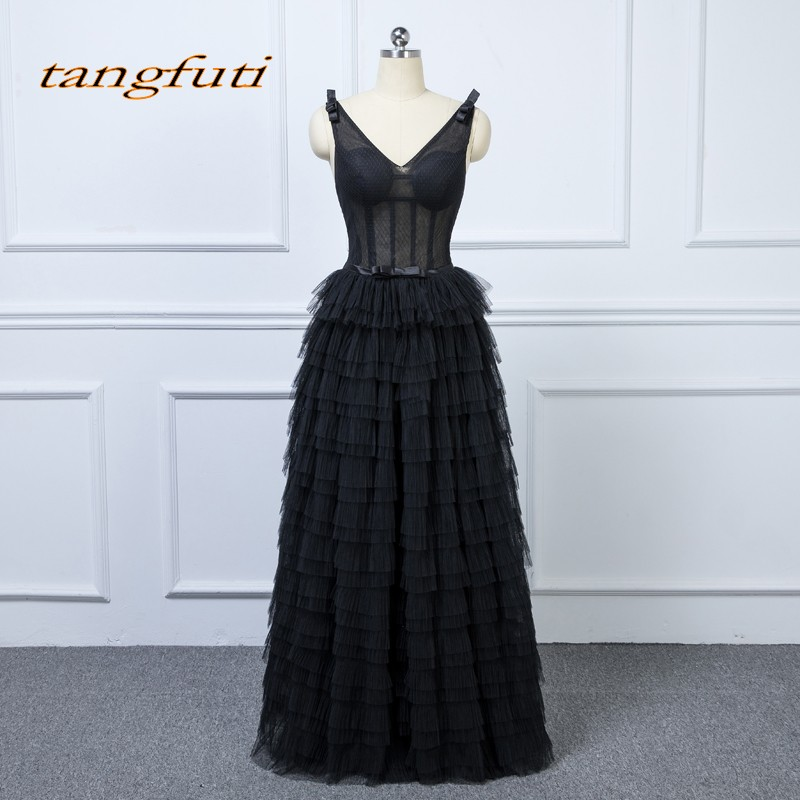 Black Ruffles   Evening     Dresses   Long Party 2018 Women Ladies A Line Prom Formal   Evening   Gowns   Dress   Wear abendkleider