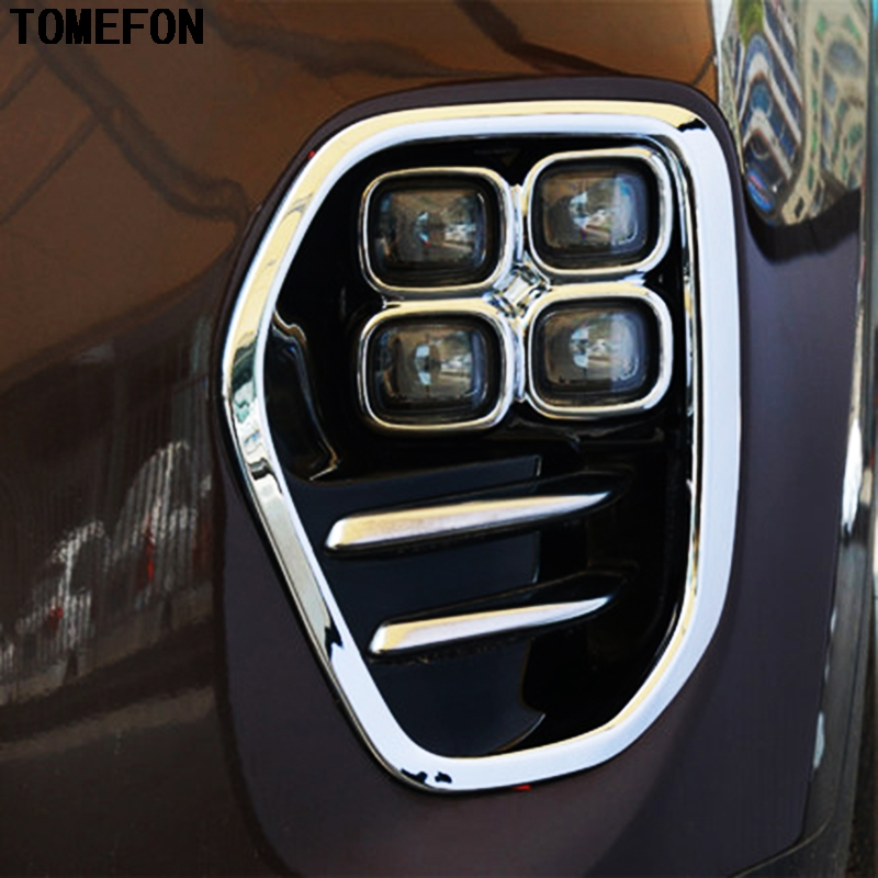 TOMEFON Accessories ABS Chrome Front Fog Light Cover Trim Bezel Garnish Lamp Foglight Bumper For font