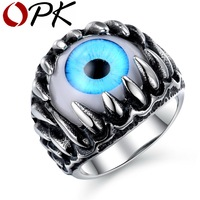 OPK Rock Punk Party Gothic Opal Design Superman Ring Personalized Green Blue Cat S Eye Vintage