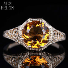HELON New Solid 10K Yellow Gold Are Deco 7.5mm Round 1.5ct Genuine Citrine Vintage Filigree Estate Cocktail Ring Fashin jewelry