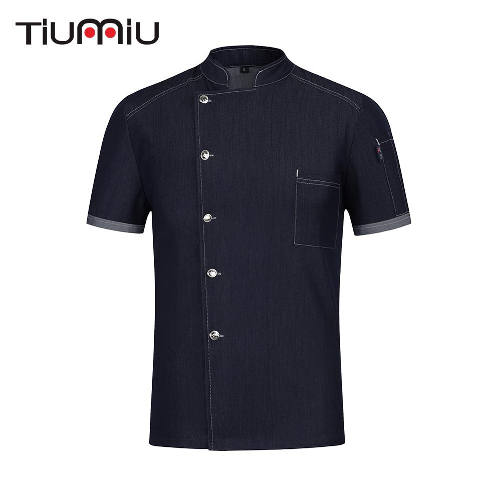 High Quality Stretch Denim Chef Uniform Wear Resistant Cook Shirt Food Service Restaurant Hotel Kitchen Unisex Work Clothes