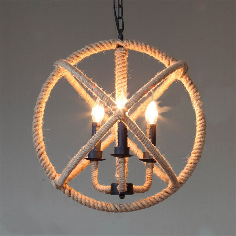 Hemp Rope Lamp Iron Globe Ball Vintage Pendant Light American Country Rustic Fixtures For Restaurants Pll 61 In Lights From
