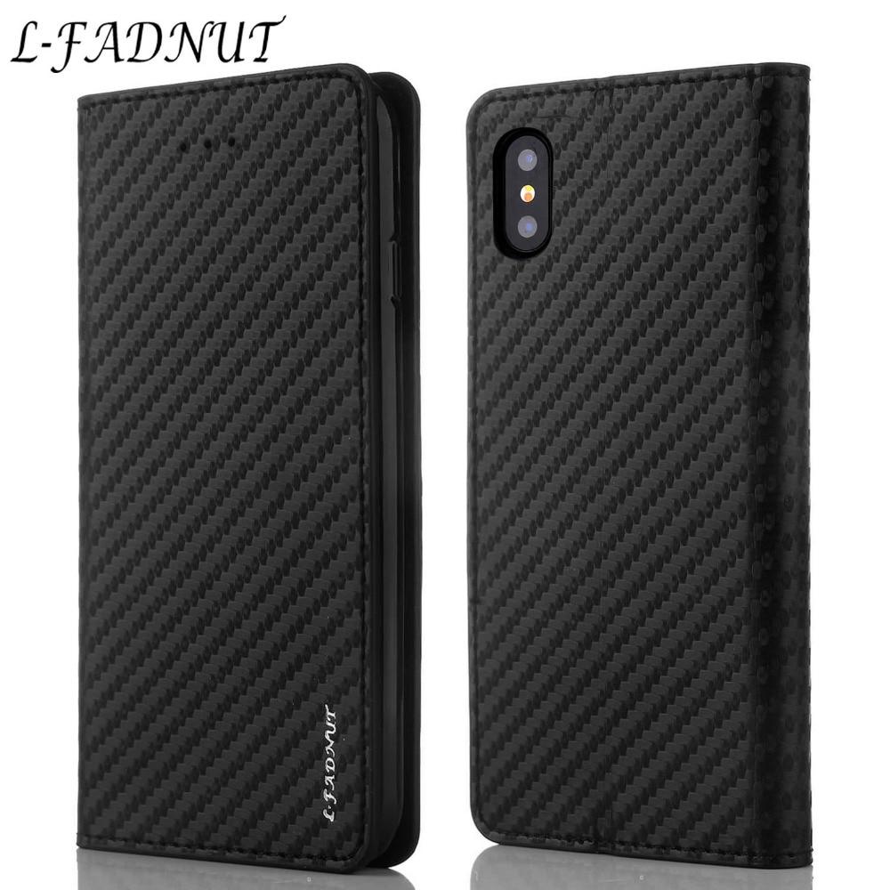 L-FADNUT из углеродного волокна Кожаный чехол для iPhone 7 Plus 8 6 S 6 5 5S SE винтажный слот для карт откидной Чехол-бумажник для iPhone Xr X Xs Max