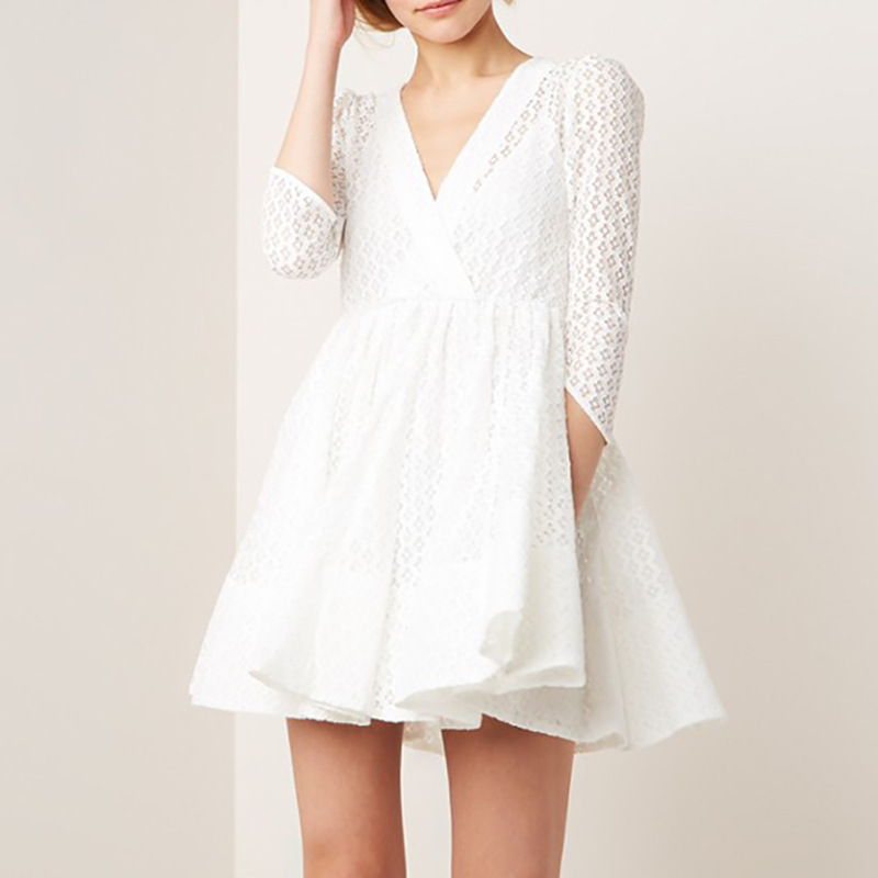 Women Dress 2019 Spring and Summer New V neck Lace Elegant Sweet Wrist length Sleeve Dress