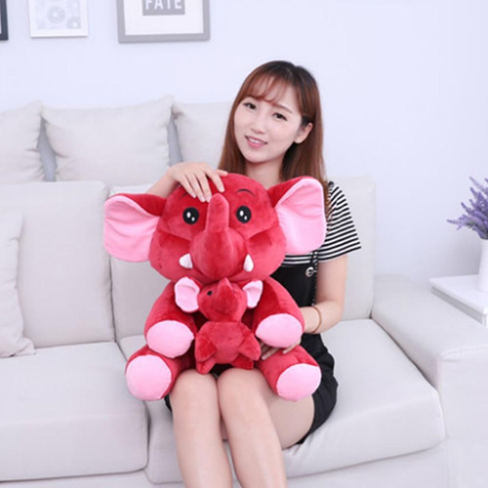Fancytrader милый большой плюшевый слон мама и ребенок игрушки прекрасный аниме слон кукла для детей подарок 70 см 28 дюймов - Цвет: red