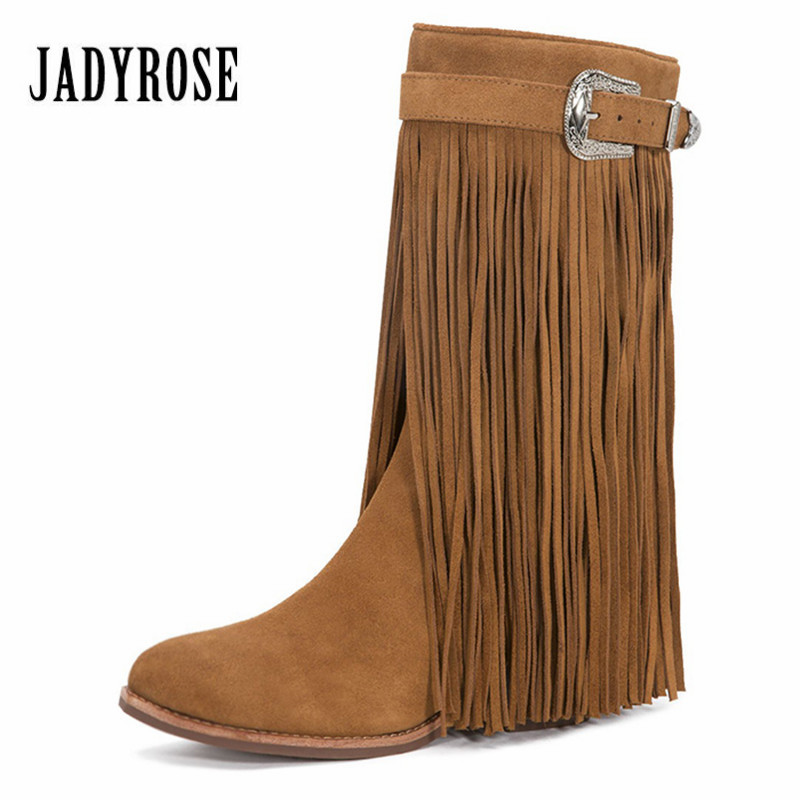 Jady Rose Brown Full Fringed Women Mid-calf Winter Boots Suede Tassels Chunky High Heel Long Boot Buckles Rubber Botas Mujer jady rose brown fringed women chunky high heel boots suede slip on women rivets studded rubber boot platform autumn winter botas