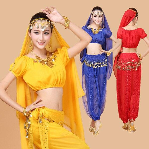 4gab. Vēderdejas kostīms Bolivudas kostīms Indijas čigānu kleitā Bellydance kleita sieviešu vēderdejas kostīmu komplekti cilts svārkos