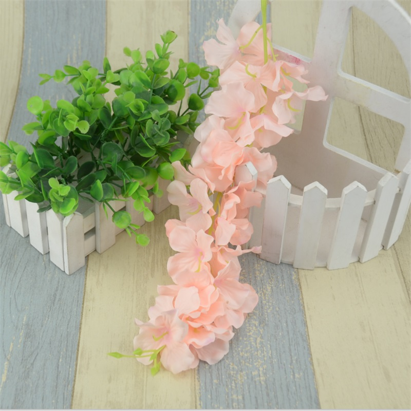1pcs30heads hawaii artificial silk wisteria garden hanging flower 1pcs30heads hawaii artificial silk wisteria garden hanging flower vine wedding plant for home decoration hydrangea fake flowers in artificial dried mightylinksfo Images
