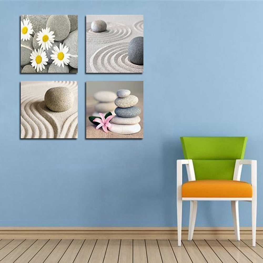 Nordic Poster Beach Stone Sand Daisy Flower Beauty Canvas Print Picture for Bathroom Kitchen Wall Decor Zen Home Decor Custom