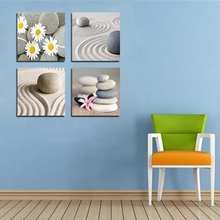 Nordic Beach Stones Sand Daisy Flower Canvas Picture for Home Wall Decor