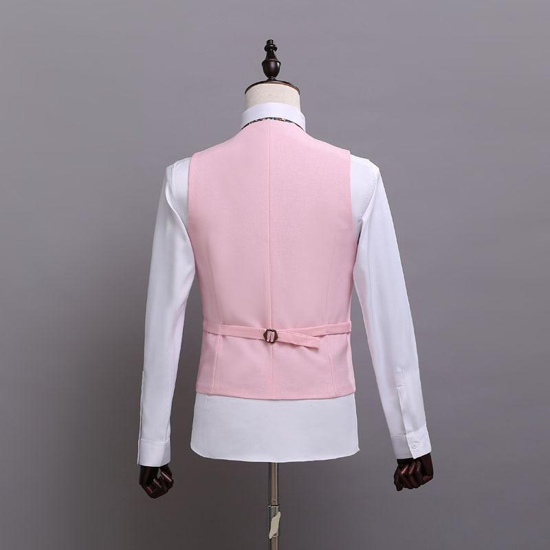 9.2 New men\`s suit vest wedding groom groomsman suit vest set decoration body vest pink vest male