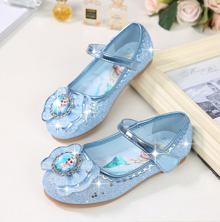 New Snow Queen Children Leather Shoes Princess Baby Girl Shoes For Kids Glitter Wedding Party Infantil Chaussure Enfan