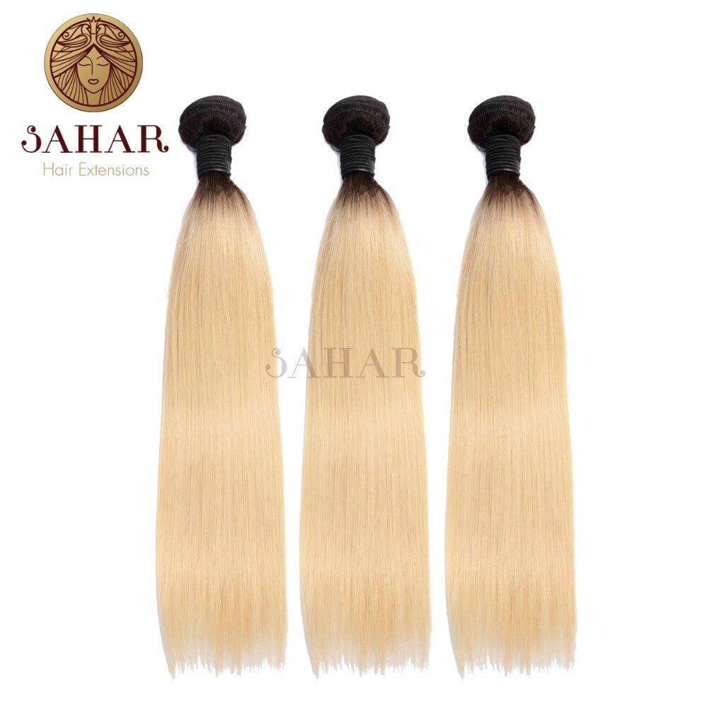 Haarverlängerung Und Perücken Sahar Brasilianische Remy Haarwebart Bundles T1b/613 Honig Blonde Farbe Gerade Haar Extensions 1/3/4 Bundles 100% Menschliches Haar Schuss